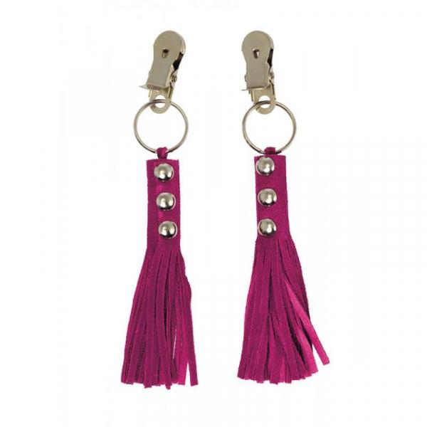 Rimba štipce na bradavky s ružovým koženým príveskom